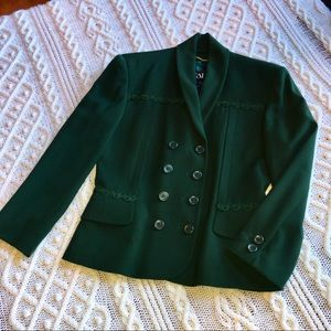 Escada Wool Green Jacket w Trim Sz 38